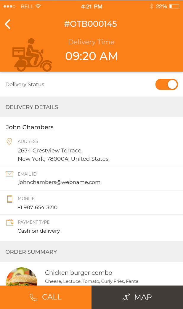 Food delivery tracking app demo Android, iOS for delivery boy
